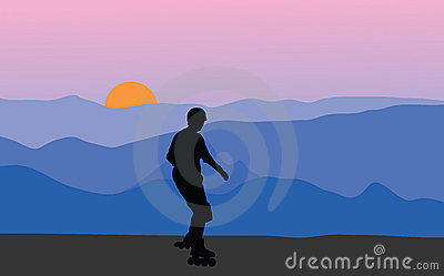 Roller skater at sunset