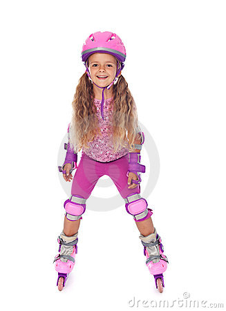 Roller skating little girl laughing - isolated