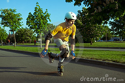 Roller skating in the park