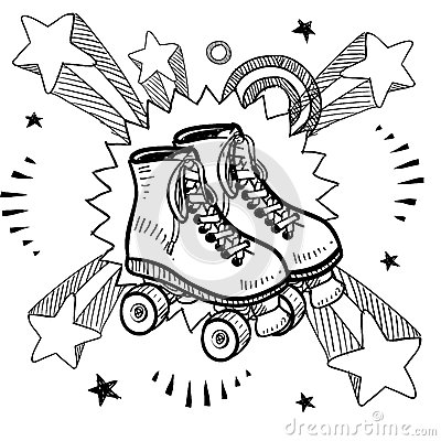Doodle style sketch of rollerskates on pop explosion background in ...