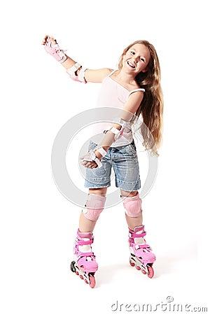 Rollerblading. Child sport with rollerblades
