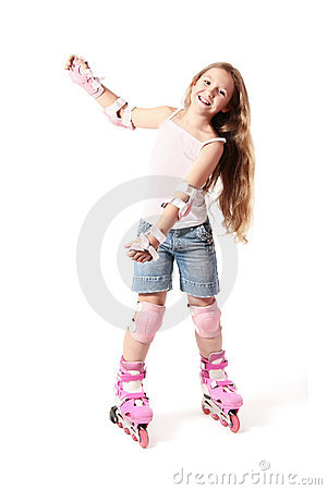 Free Rollerblading. Child Sport With Rollerblades Stock Images - 21046364