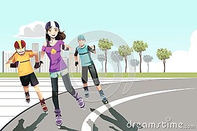 Rollerblading teenagers