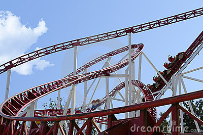 Rollercoaster in an amusement park