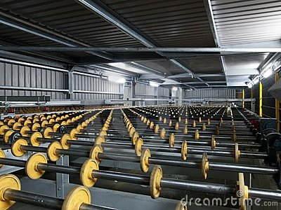 Rollers in a glass factory