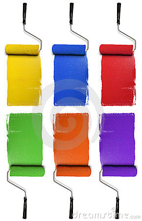 Free Rollers With Primary And Secondary Colors Royalty Free Stock Photography - 9837307