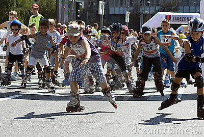 Rollerskates Race -1 Editorial Photo