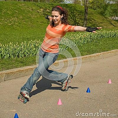 Free Rollerskating Girl Stock Image - 5492321