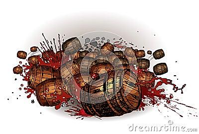 Rolling barrels.