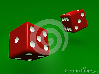 Rolling dice on green background