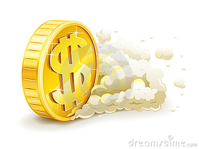 Rolling gold coin with dollar sign