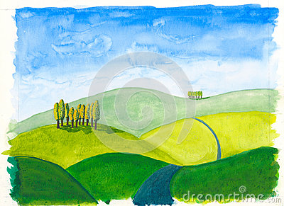 Tuscan hills original watercolour painting rolling