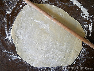 Rolling pin and homemade pie dough