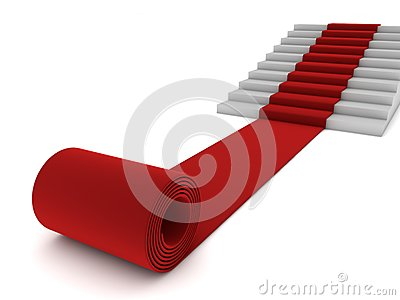 Rolling red carpet and stairs