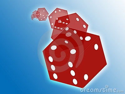 Rolling red dice illustration