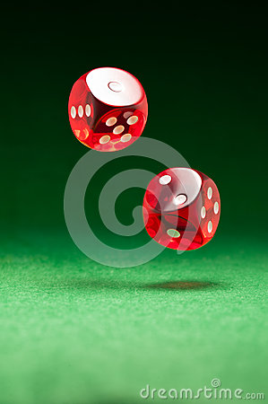 Free Rolling Red Dice On A Casino Table Stock Photos - 26079463