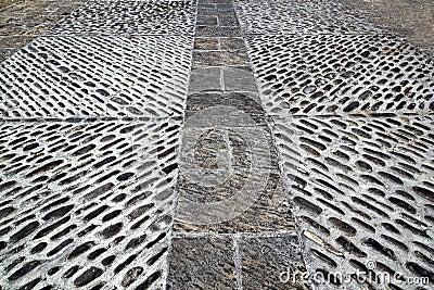 Rolling stones mosaic medieval soil floor Spain