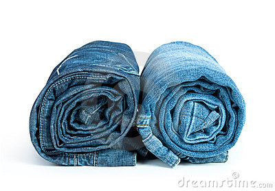 Rolls of Blue Jeans