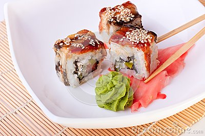 Rolls with eel and sesame