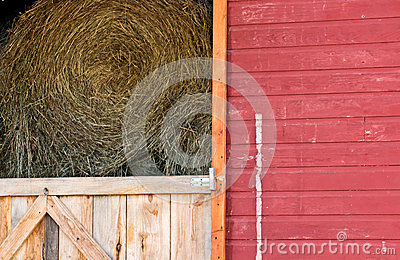 Rolls Of Hay In Red Barn Stock Image - Image: 26797881