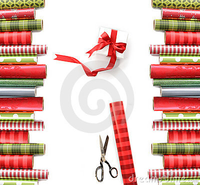 Free Rolls Of Colored Wrapping Paper On White Royalty Free Stock Image - 12038766
