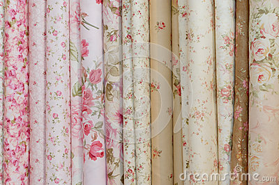 Rolls of romatic flowery printed cloths