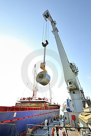 Rolls of steel sheet  in the harbor
