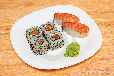 Rolls and sushi on plate
