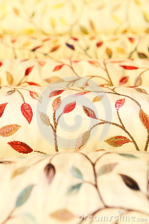 Rolls of upholstery and curtain fabrics