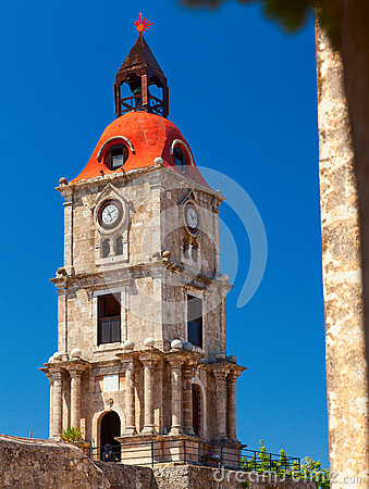 Roloi Clock Tower, At Rhodes Island Stock Photo - Image ...