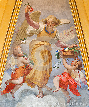 Free Rom - Fresco Of Angels With Flowers In Thomas Of Villanova Side Chapel By Unknown Artist Of 19. Cnet. In Basilica Di Sant Agosti Stock Photo - 60066030