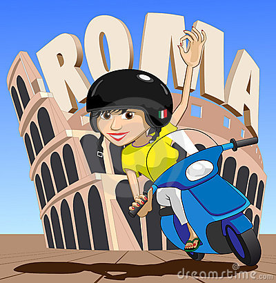 Roma Italian Scooter Girl Waves OK at while passing Colosseum Illustration : Dreamstime