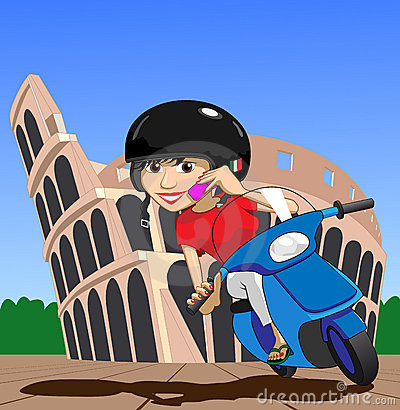 Scooter Girl on mobile phone while passing Colosseum Illustration : Dreamstime