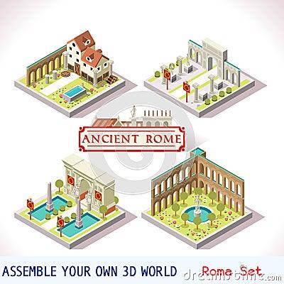 Free Roman 02 Tiles Isometric Royalty Free Stock Photo - 65959975
