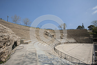 Roman amphitheater against blue sky, Tunis, Tunisia