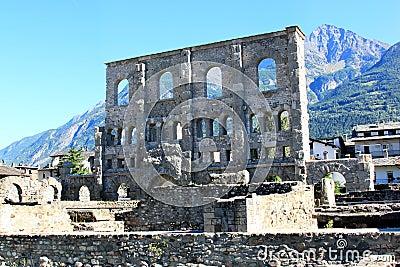 Roman Amphitheatre in Aosta, Italy