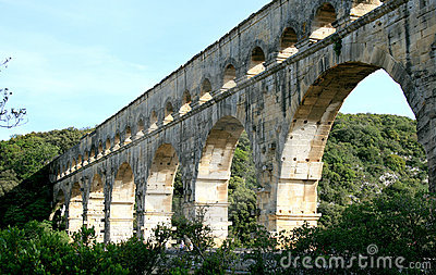 Roman aqueduct, named Pont du Gard, in France