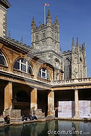 Roman Baths & Bath Abbey - England Editorial Image