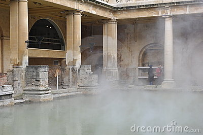 Roman baths in Bath, England Editorial Stock Photo
