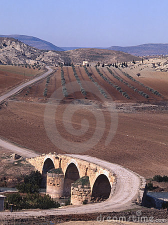 A Roman bridge crosses the Afrin River in northern