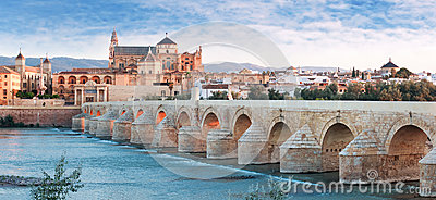 Roman Bridge and Guadalquivir river, Great Mosque, Cordoba, Spai