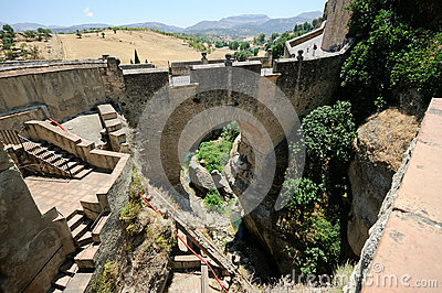 Roman bridge in Ronda in Malaga, Andalusia, Spain