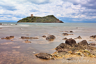 Roman castle tower on Island Sardinia Italy