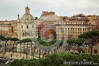 Roman cityscape in summer