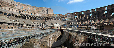 Roman Colosseum Panorama - Arena - Landmark Editorial Image
