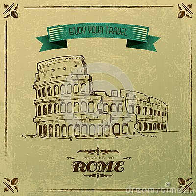 Roman Colosseum for Retro Travel Poster
