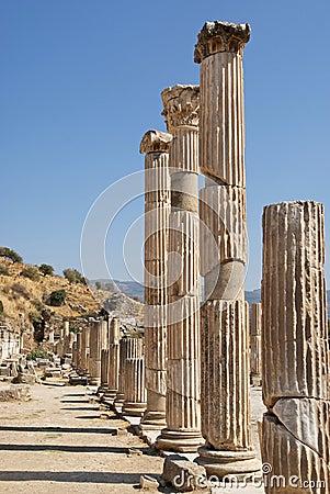 Roman columns in Ephesus Turkey
