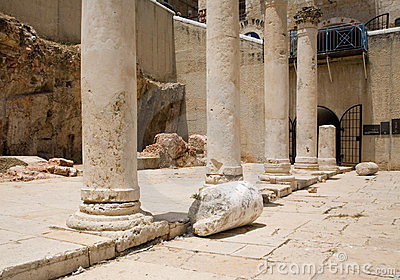 Roman columns in Jerusalem