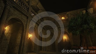 Roman Courtyard at Night