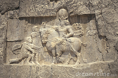 Roman Emperor Valerian submits to Persian King Shapur
